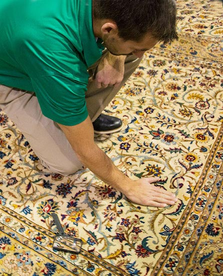 Chem-Dry Professional Inspects Clean Area Rug in Vancouver